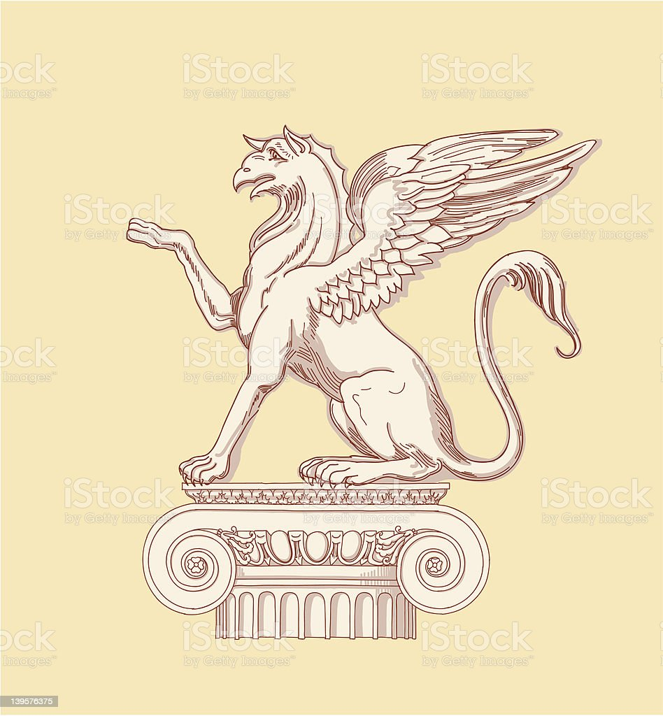 Griffin & Ionic column royalty-free stock vector art