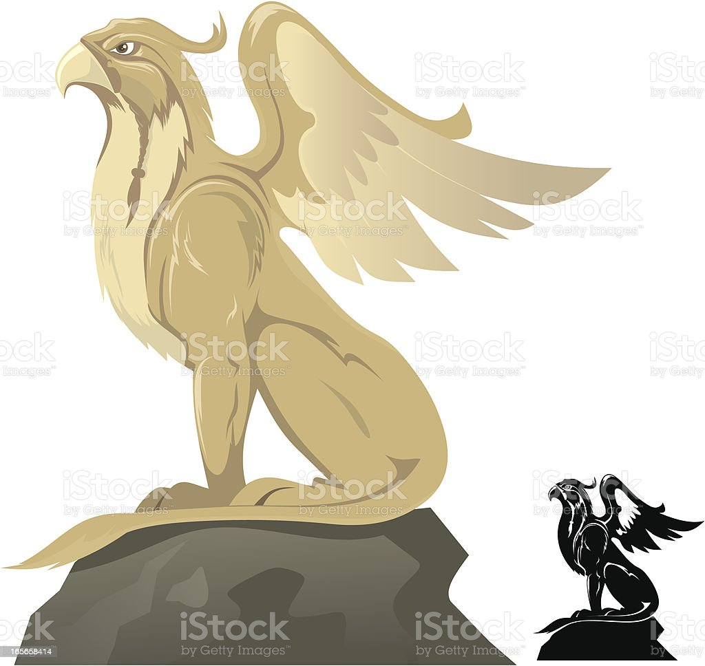 Griffin on a rock vector art illustration
