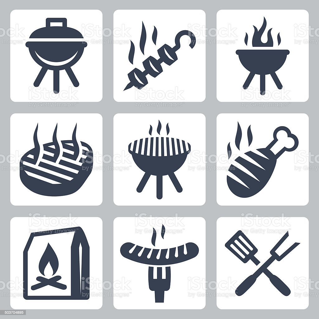 Grill and barbeque related vector icons set vector art illustration