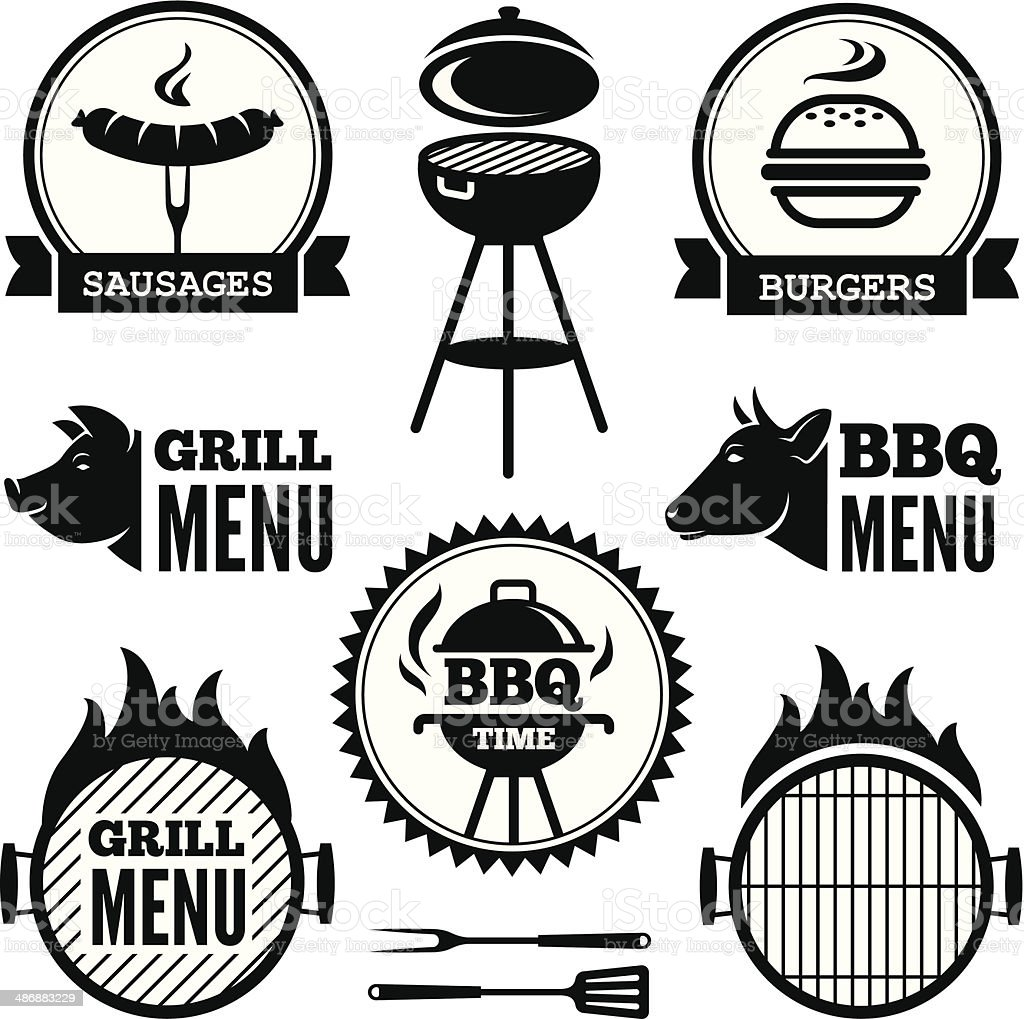 Grill and BBQ1 vector art illustration