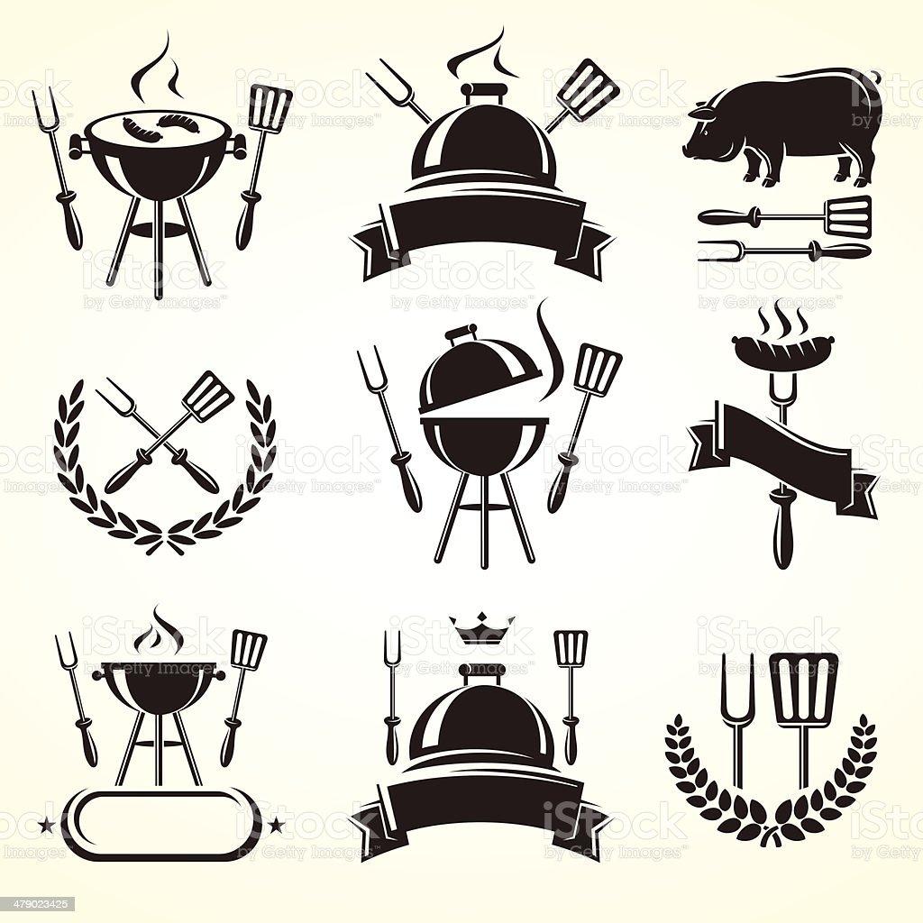 Grill elements set. Vector vector art illustration