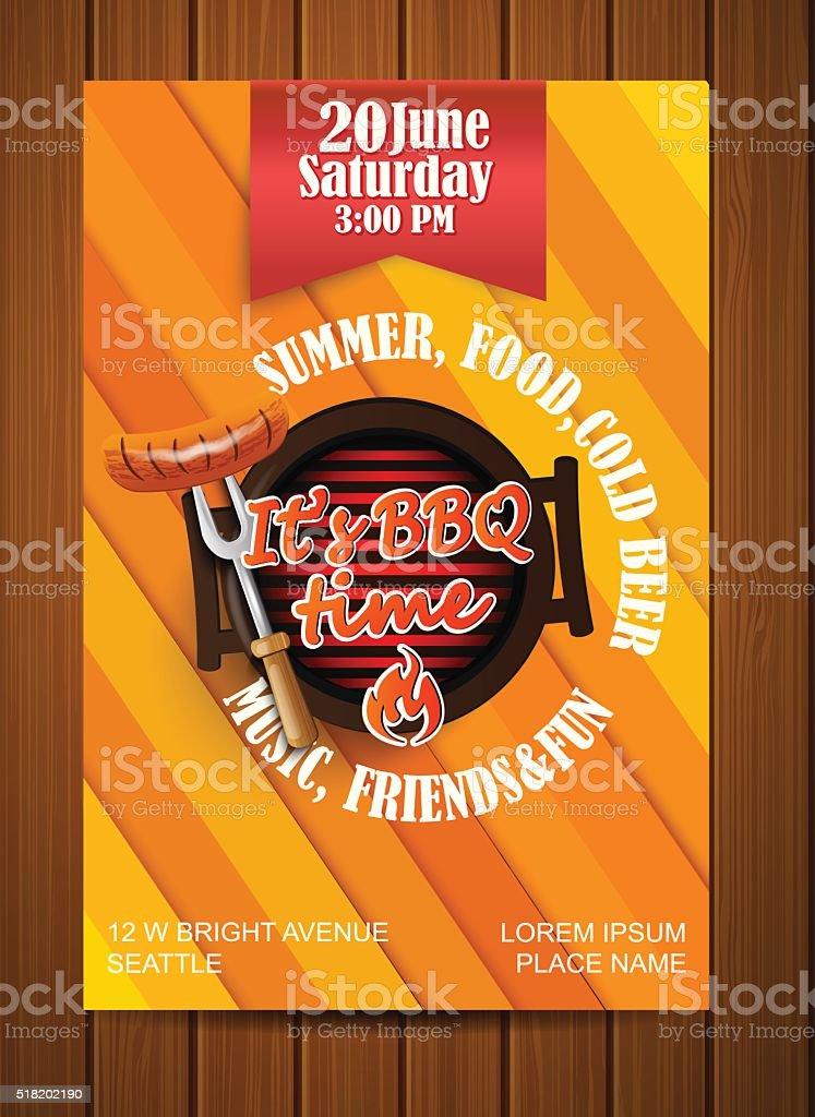 BBQ Grill flyer. vector art illustration