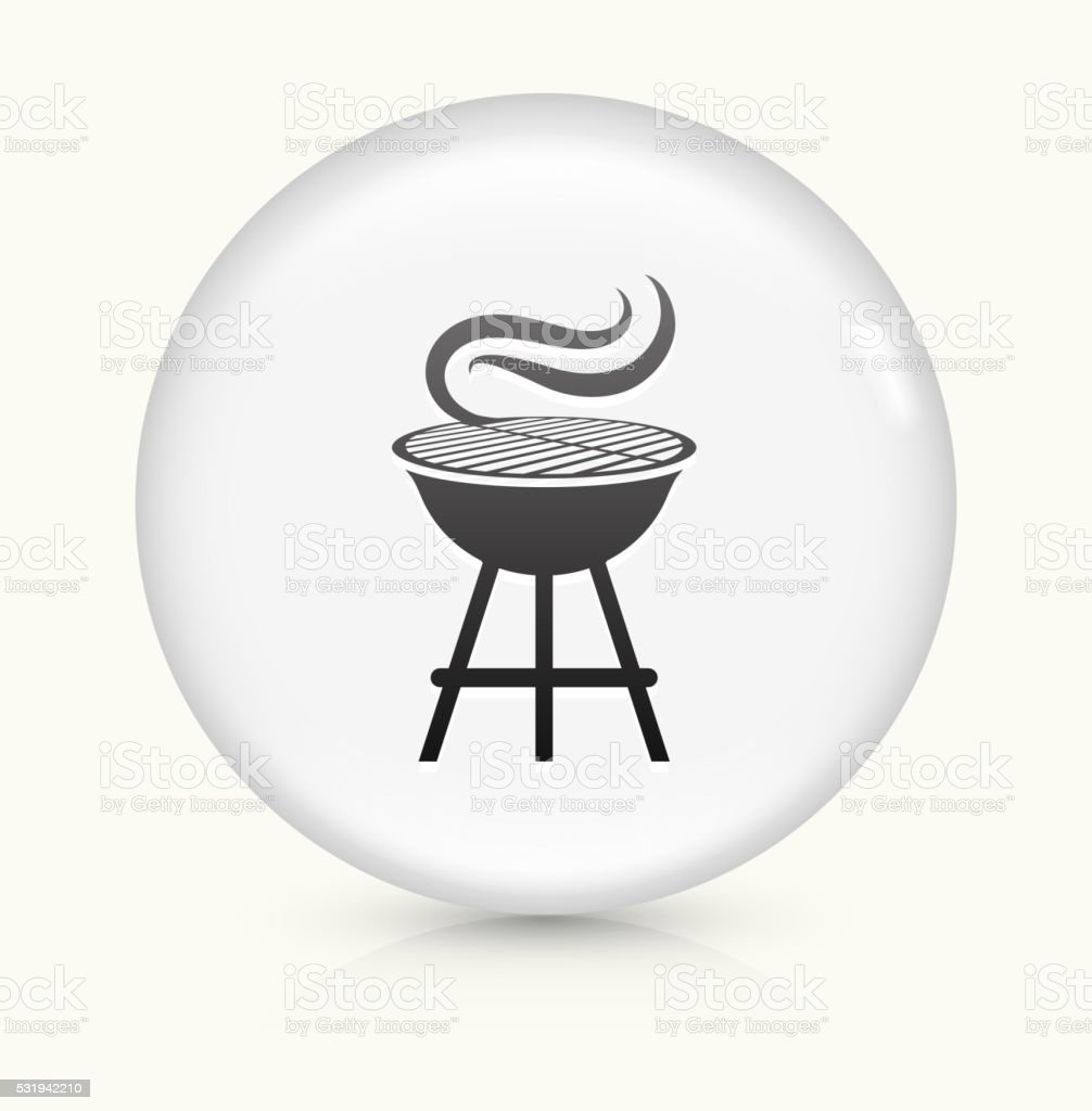 Grill icon on white round vector button vector art illustration