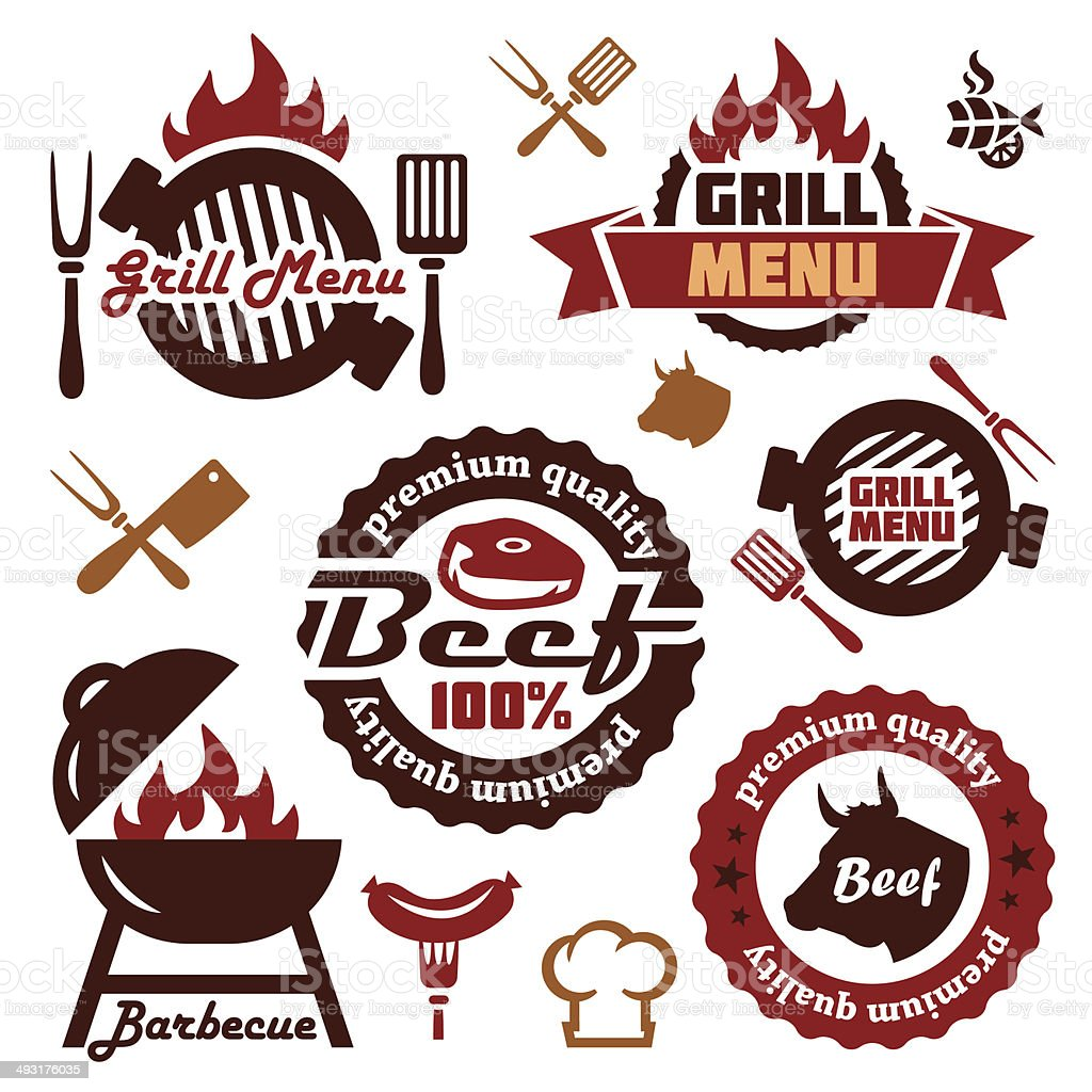 grill menu design elements set vector art illustration