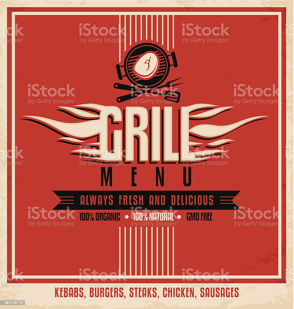 Grill menu retro poster design template vector art illustration