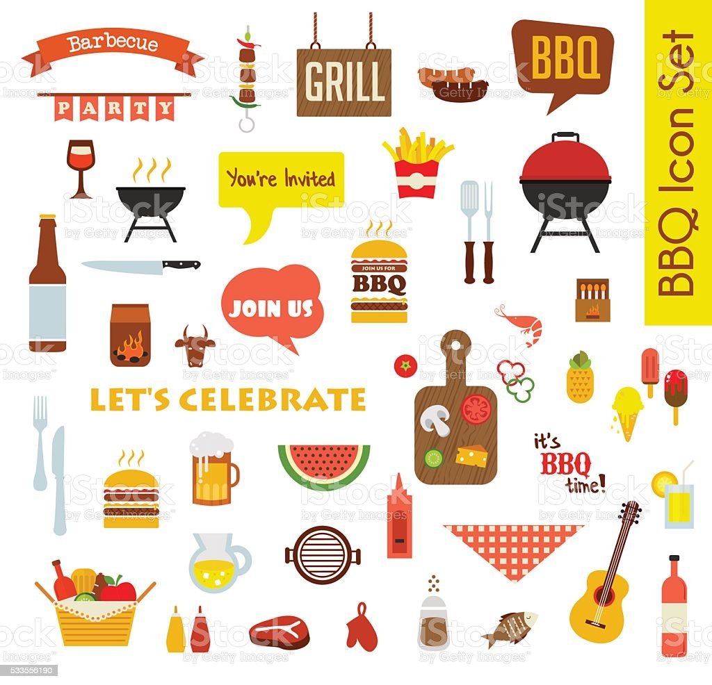 Grill Or Barbecue big Icon set with food and objects vector art illustration