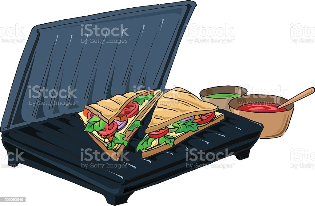Grill sandwich made in a toaster vector art illustration