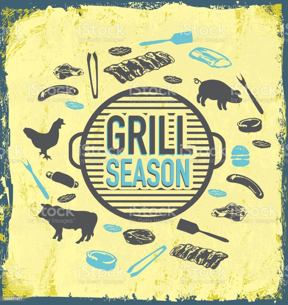 BBQ Grill season icon set on textured background vector art illustration