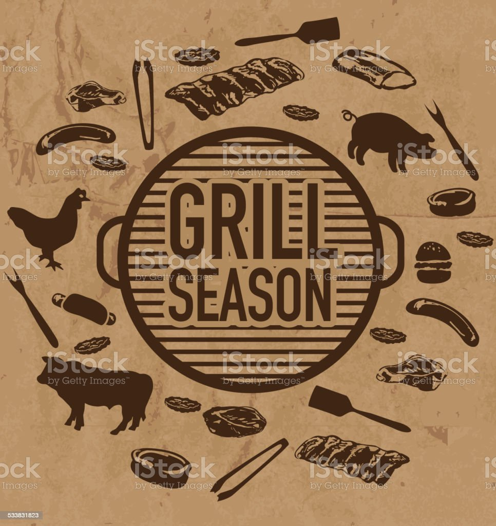BBQ Grill season icon set on textured paper bag background vector art illustration