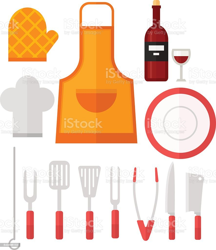 Grill tools vector set. vector art illustration
