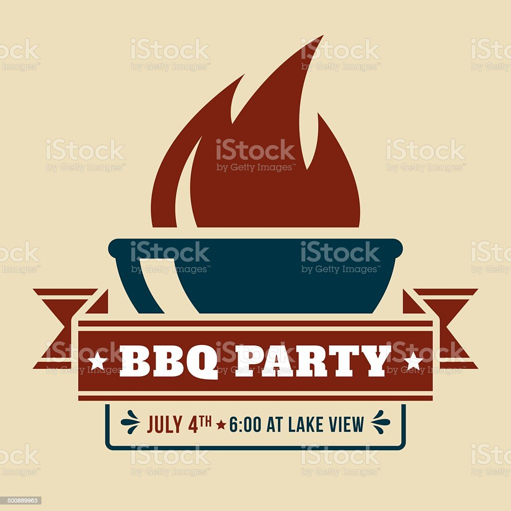 BBQ Grill with Invitation vector art illustration