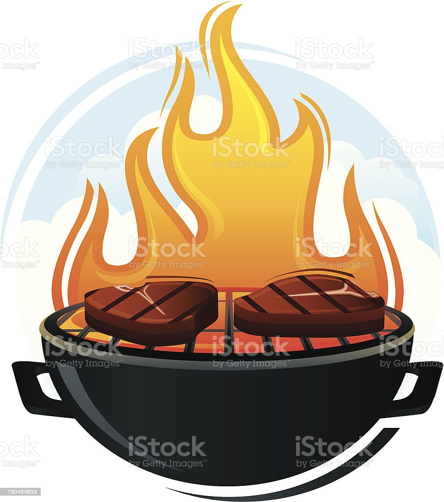 Grill with Steaks vector art illustration