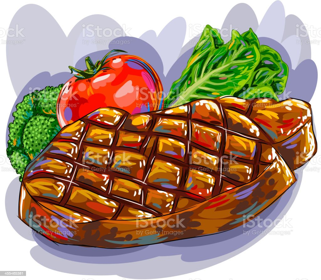 Grilled Beef with Vegetables royalty-free stock vector art