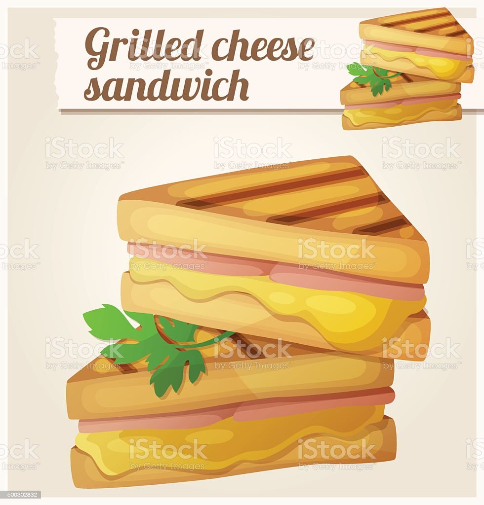 Grilled cheese sandwich. Detailed vector icon vector art illustration