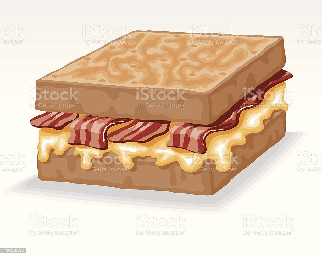 Grilled Cheese Sandwich with Bacon vector art illustration