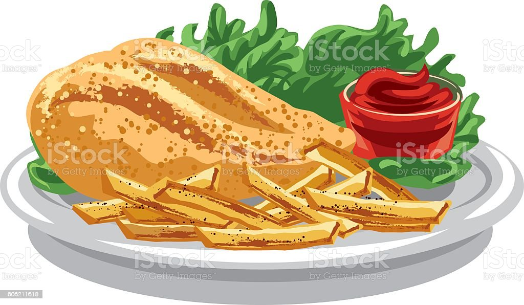 grilled chicken breast vector art illustration