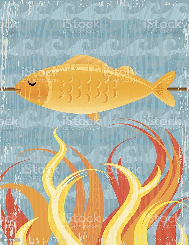 BBQ Grilled Fish Poster vector art illustration