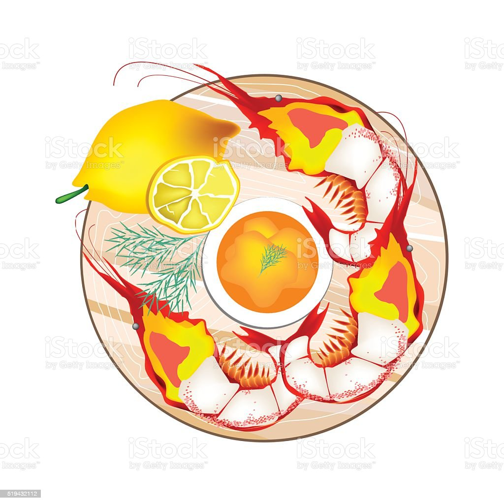 Grilled Giant Prawn with Lemon and Butter Sauce vector art illustration
