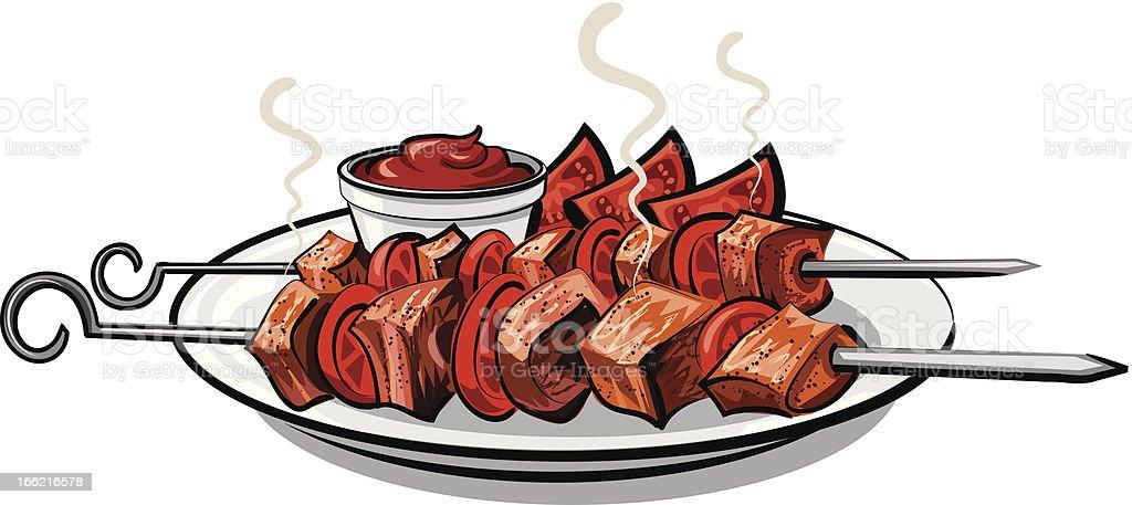 grilled kebab royalty-free stock vector art
