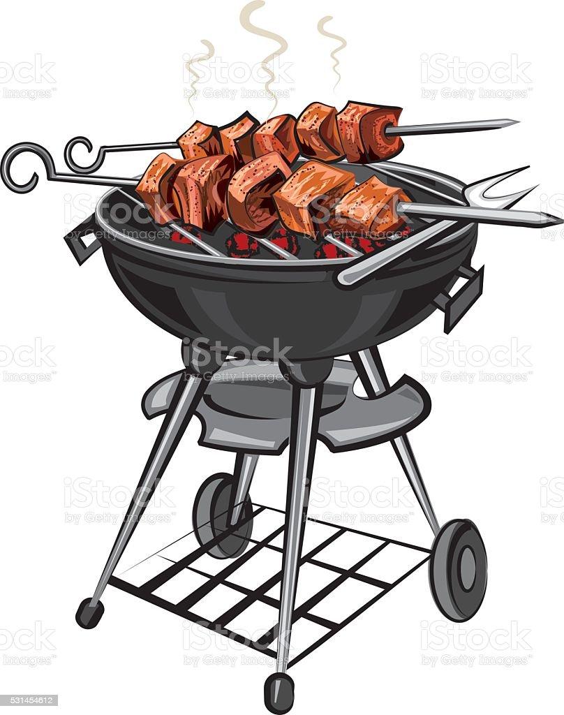 grilled kebabs vector art illustration