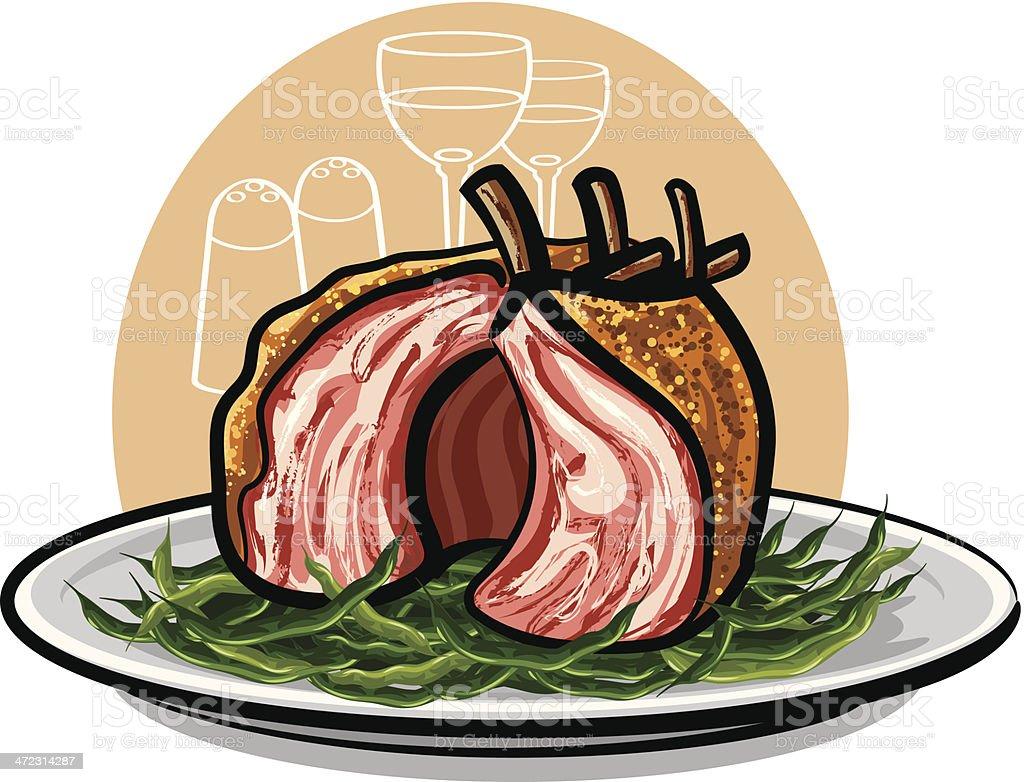 grilled lamb ribs royalty-free stock vector art