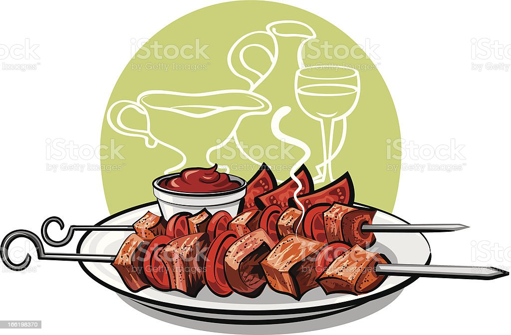 grilled meat kebab royalty-free stock vector art