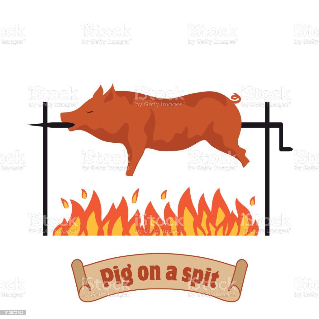 Grilled pig. Roasting piglet. BBQ pork. vector art illustration