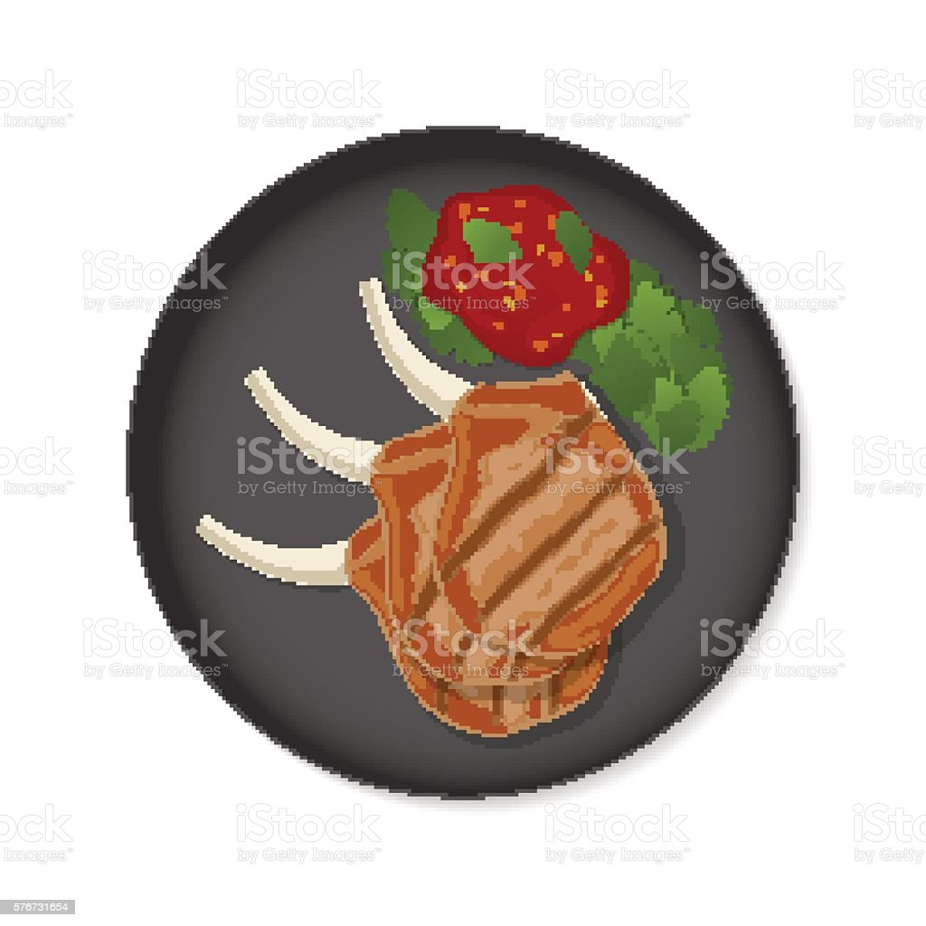 Grilled ribs top view vector art illustration