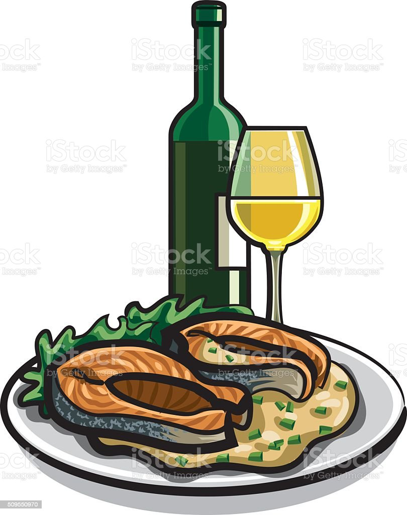 grilled salmon and wine vector art illustration