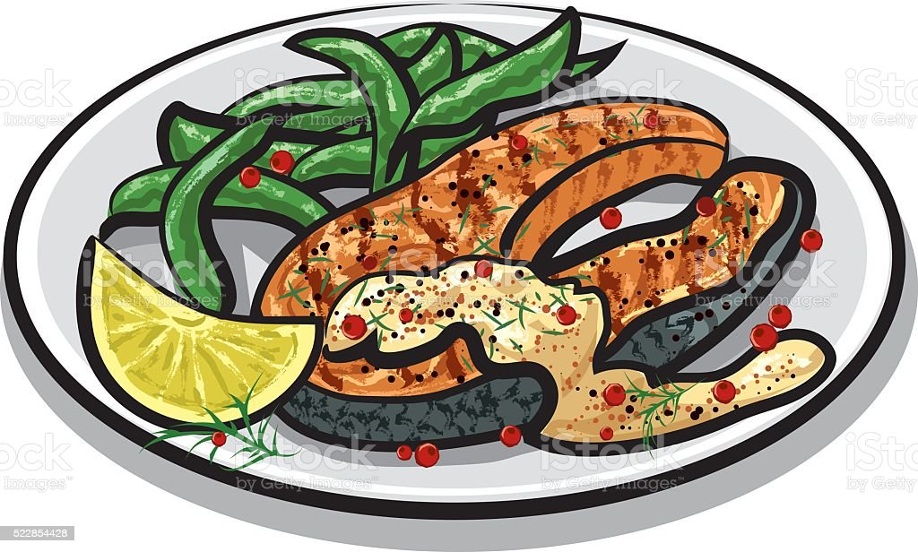 grilled salmon steak vector art illustration