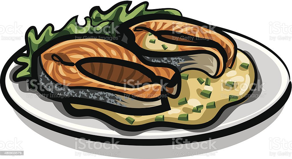grilled salmon royalty-free stock vector art