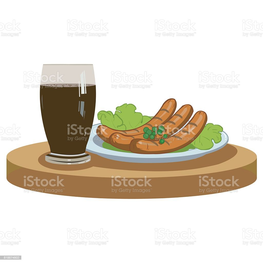 Grilled sausages and dark beer royalty-free stock vector art