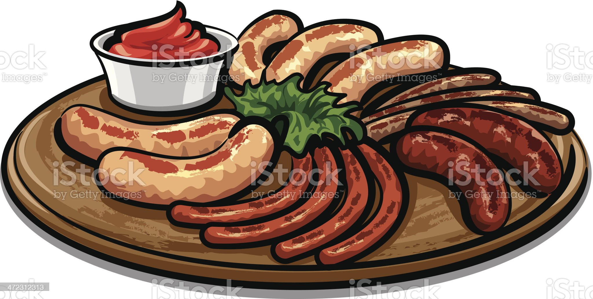 grilled sausages with sauce royalty-free stock vector art
