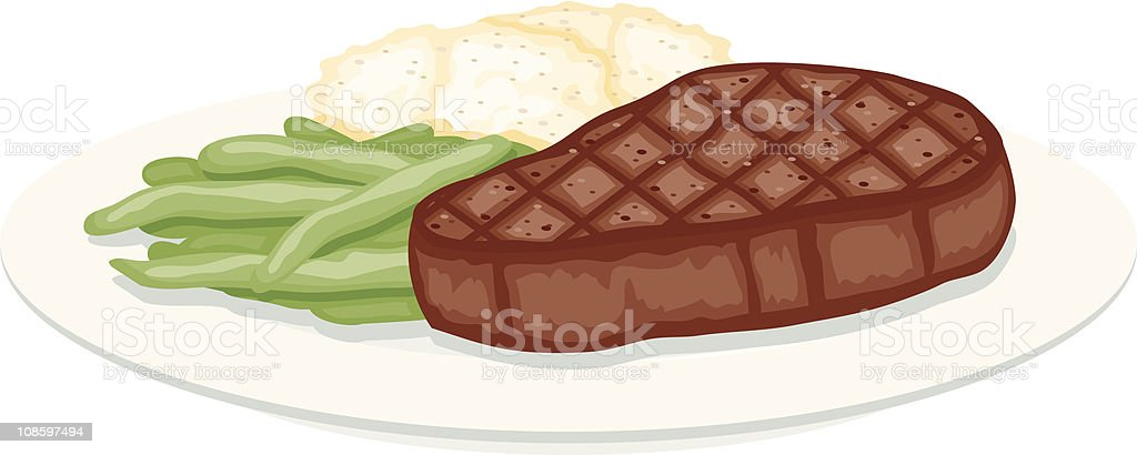 Grilled Steak, Green Beans and Mashed Potatoes vector art illustration