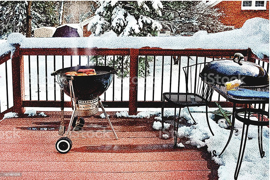 Grilling and Snow vector art illustration