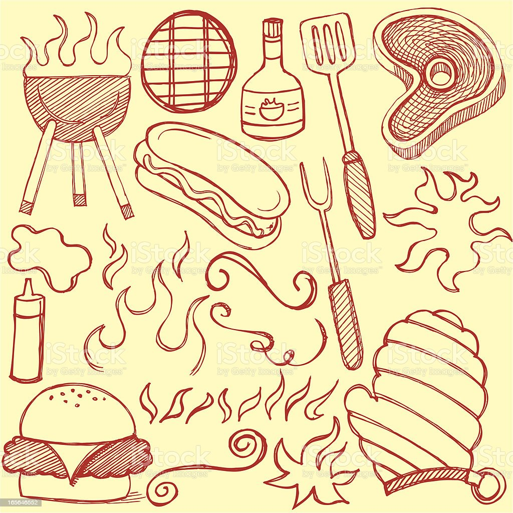 Grilling BBQ Barbecue Doodles royalty-free stock vector art