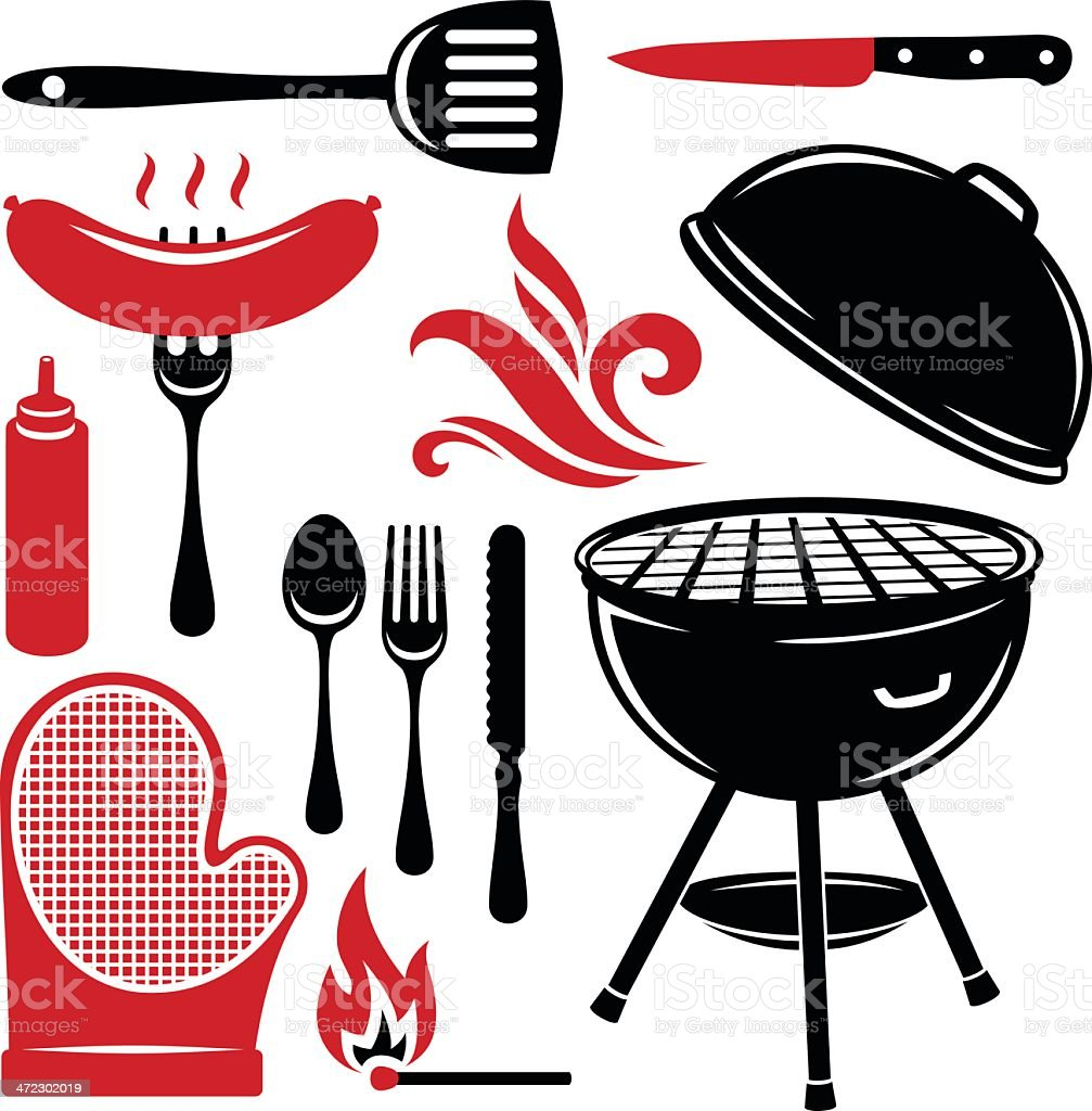 Grilling Elements vector art illustration