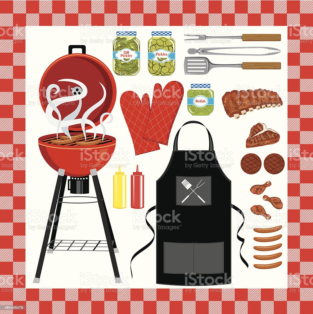 BBQ Grilling Set With Seamless Check Pattern vector art illustration