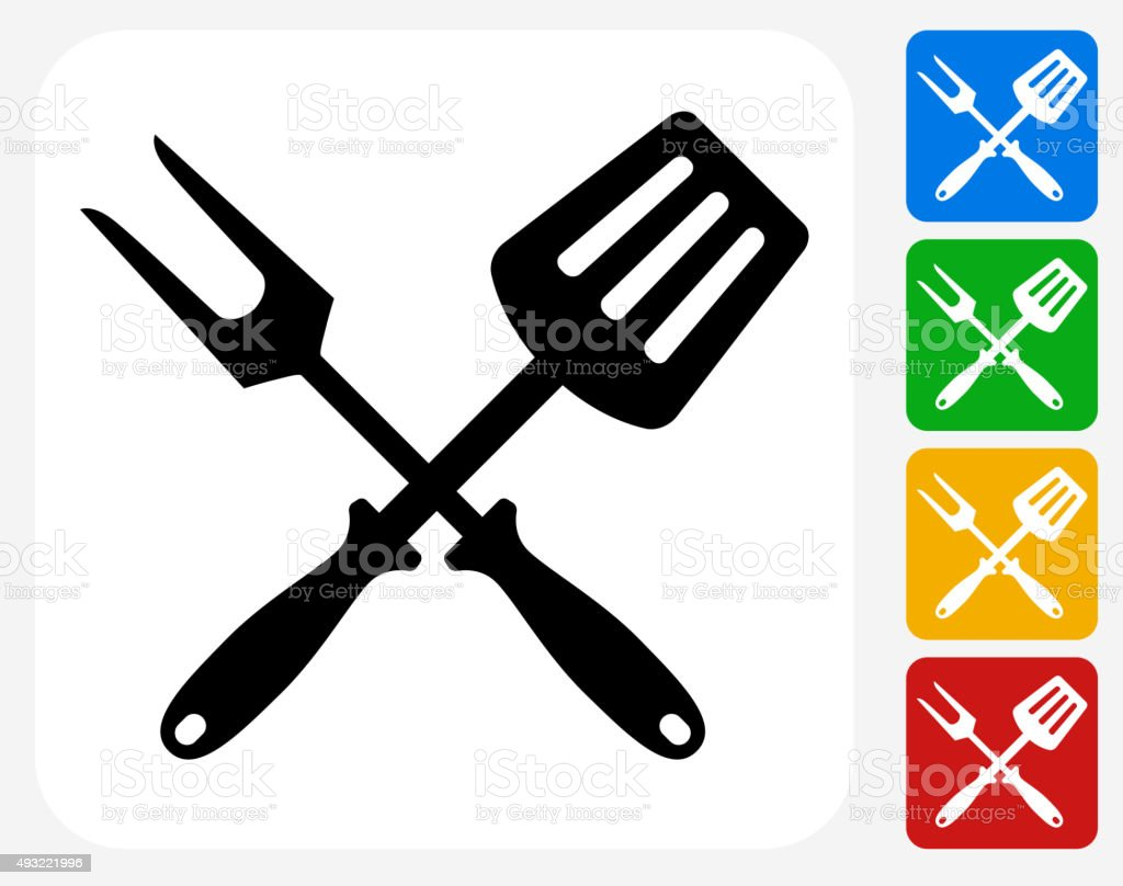 grilling utensils icon flat graphic design vector art - Grilling Tools