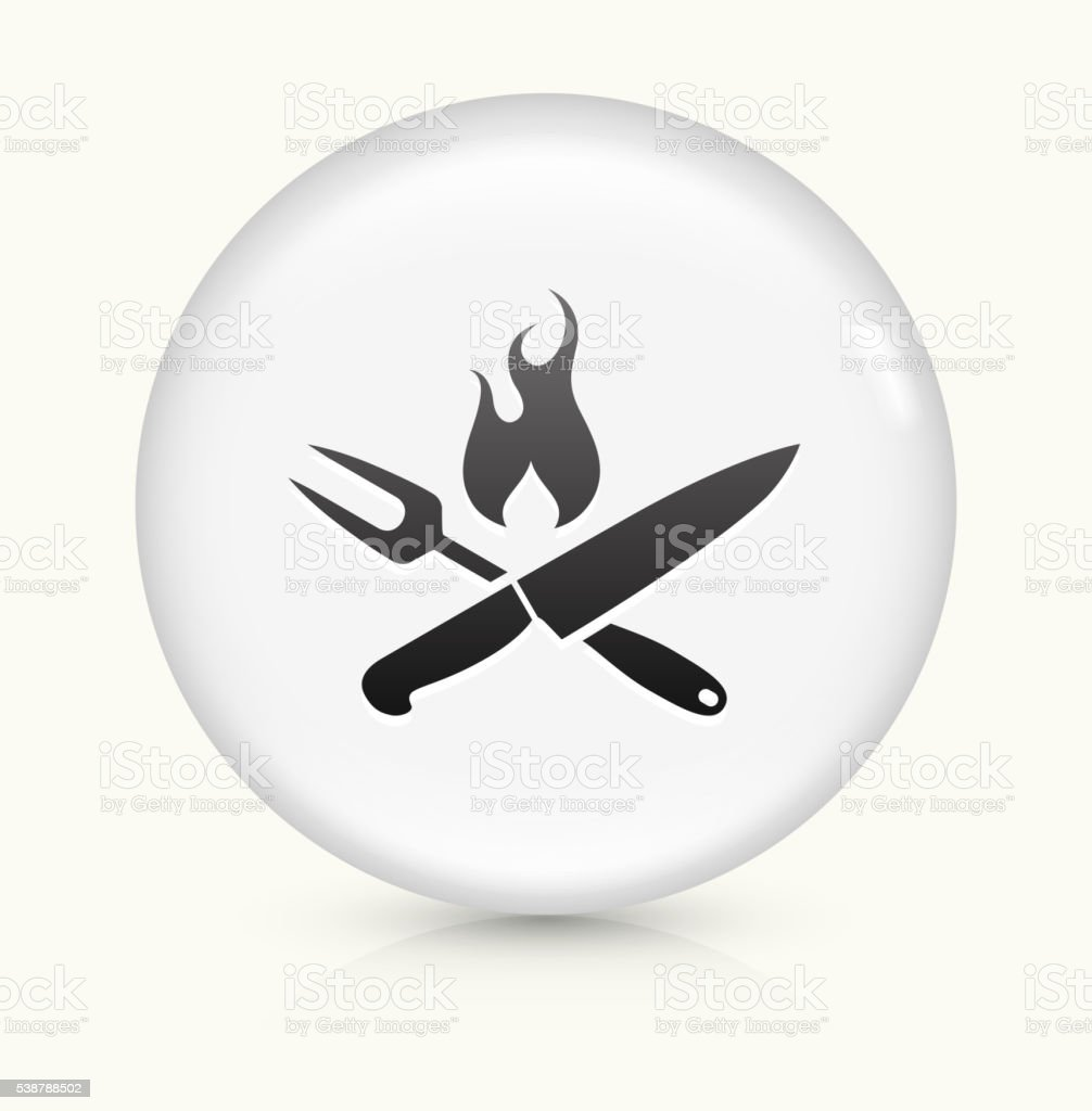 Grilling Utensils icon on white round vector button vector art illustration