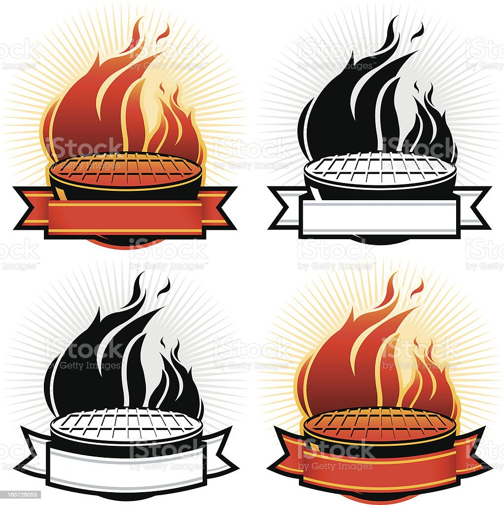 Grills with Banners royalty-free stock vector art