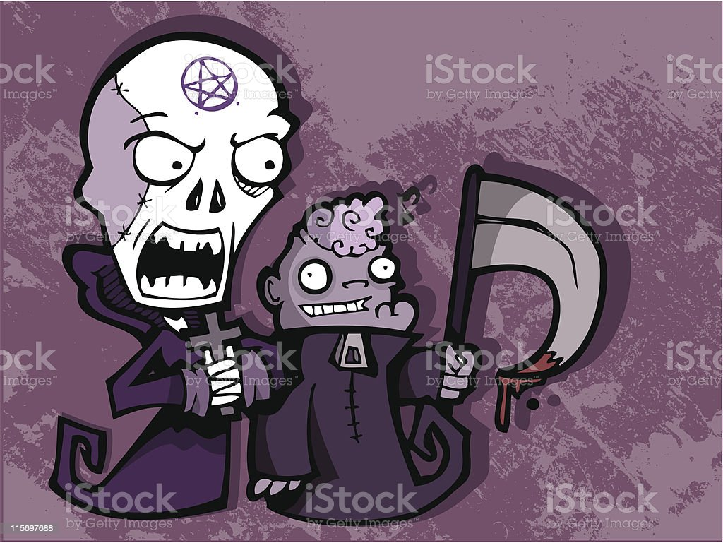 Grim Reaper and Servant royalty-free stock vector art