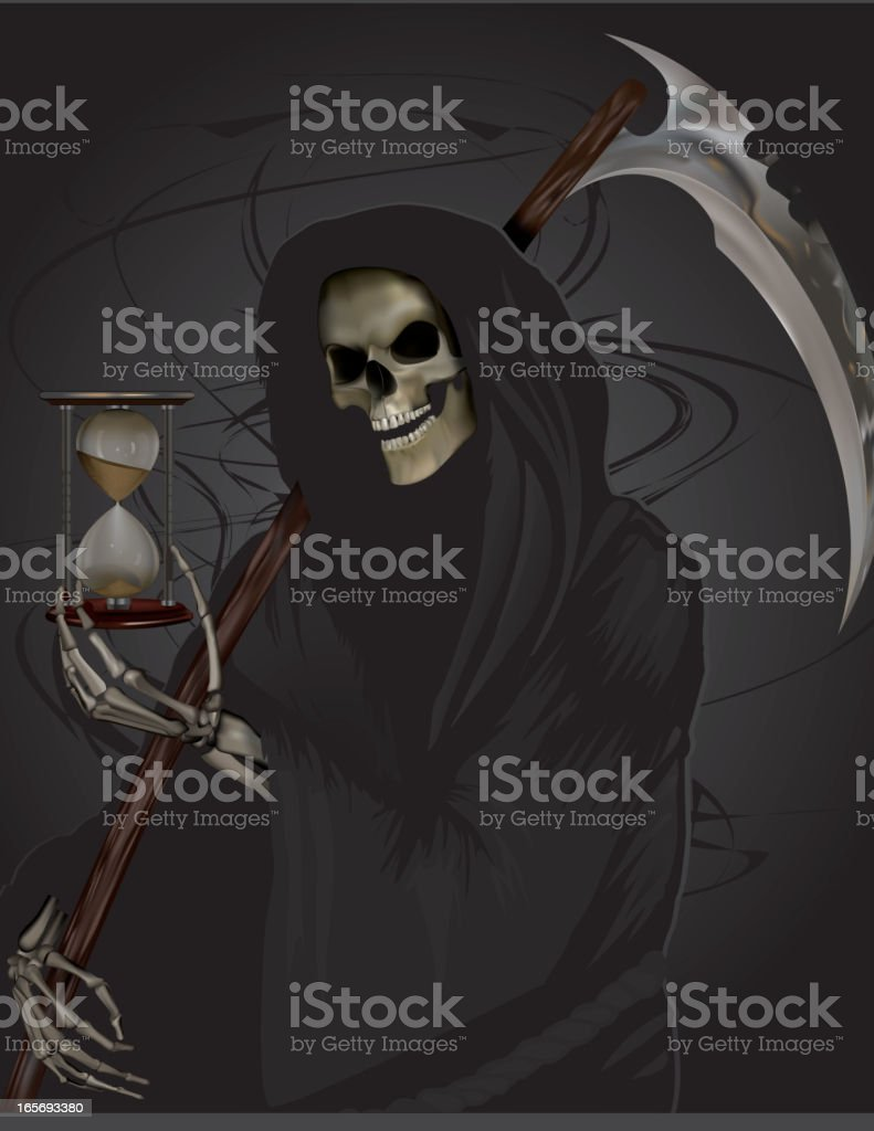 Grim Reaper holding Hour Glass royalty-free stock vector art