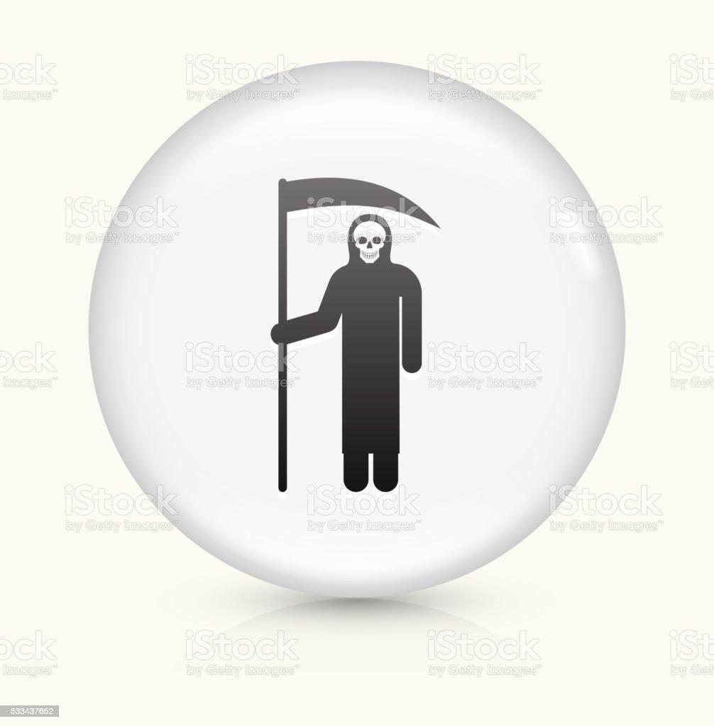 Grim Reaper Holding Scythe icon on white round vector button vector art illustration