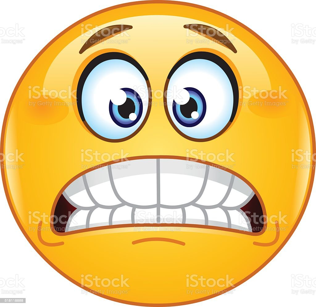 Grimacing emoticon vector art illustration