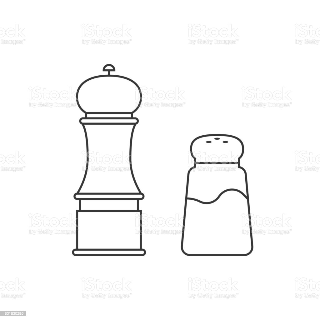 grinder and shaker vector art illustration