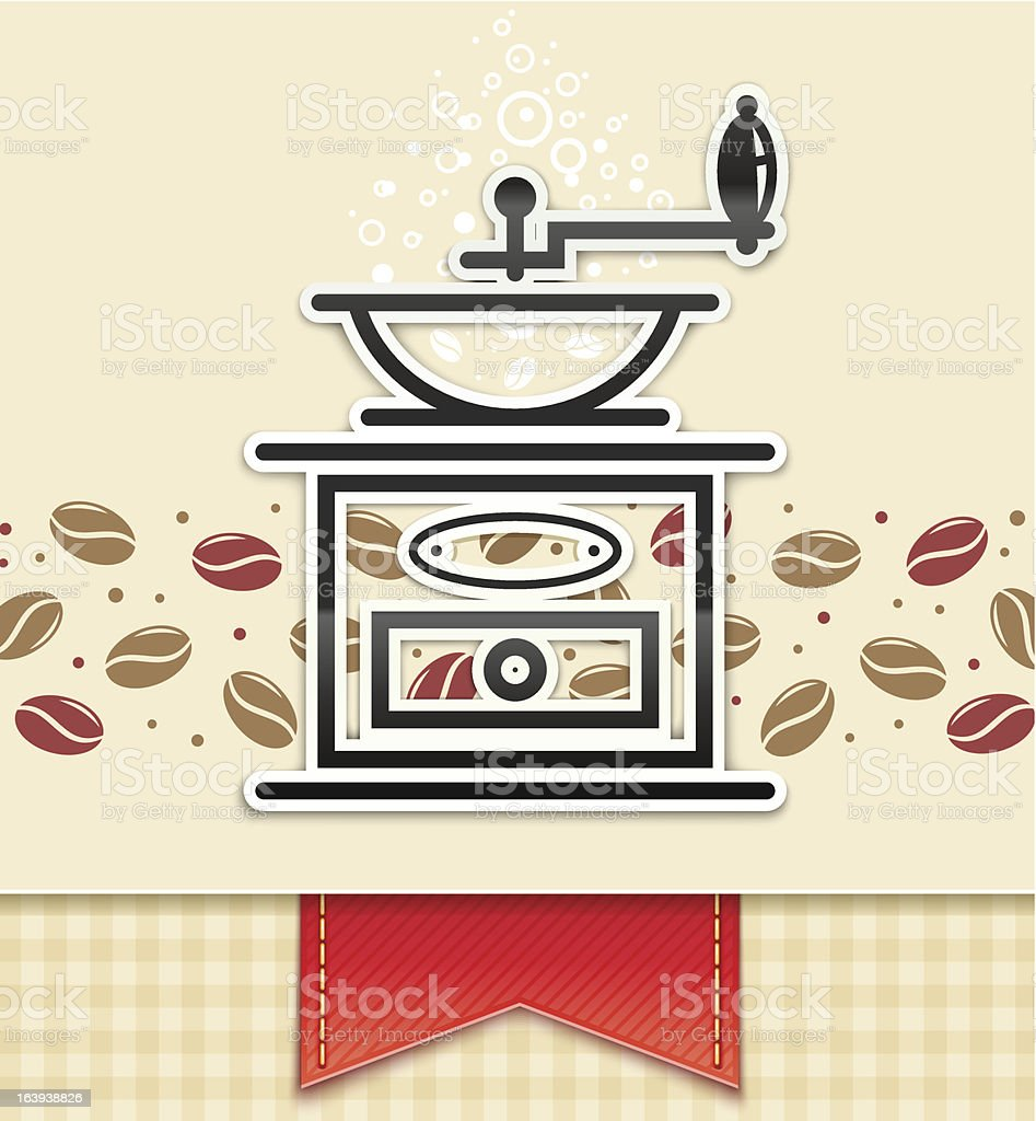 grinder with coffee, food background vector art illustration
