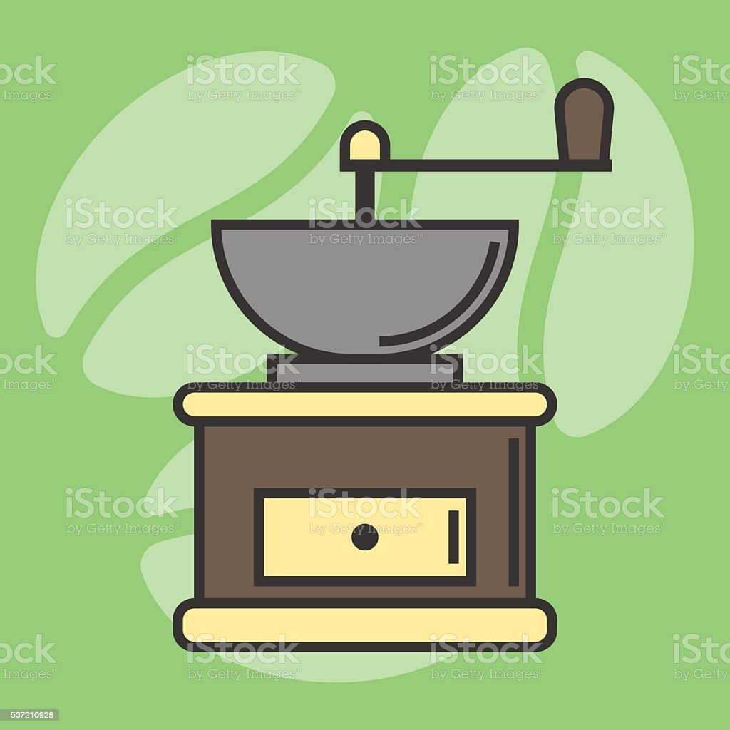 Grinding coffee machine flat icon line, roasted coffee beans in vector art illustration