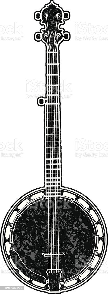 gritty banjo graphic vector art illustration