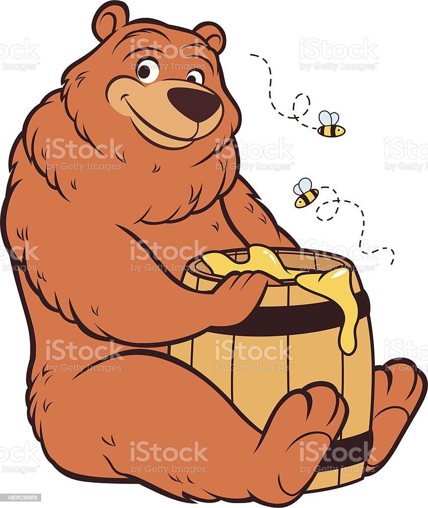 Grizzly Bear - Honey vector art illustration